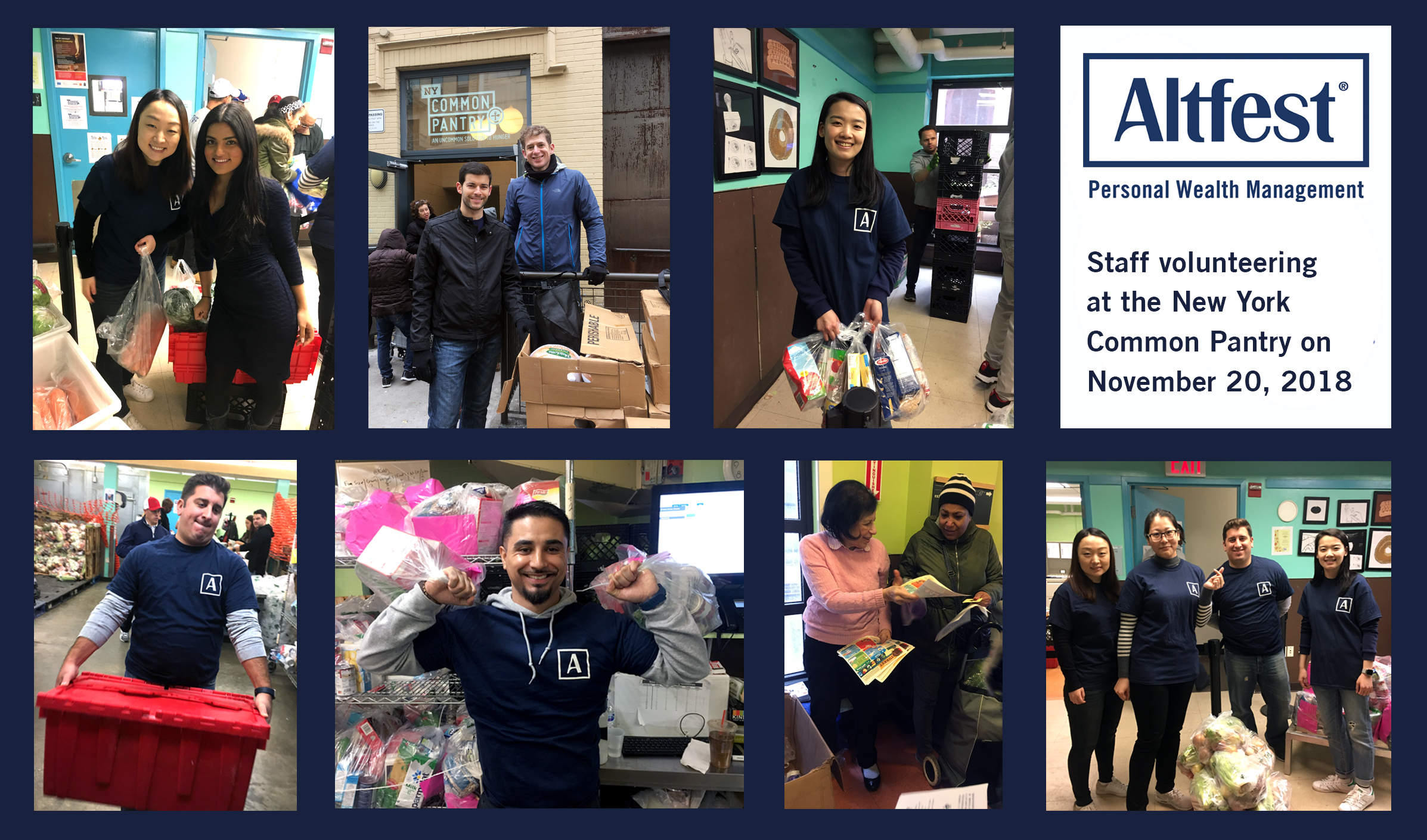Altfest staff volunteering at the New York Common Pantry on November 20, 2018